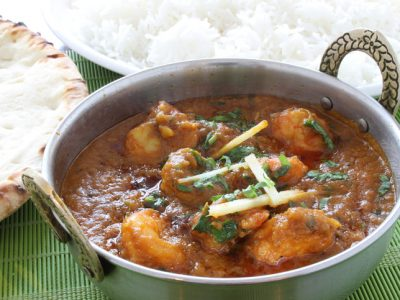 prawn curry in dishprawn curry in dishchicken curry in dish with basmati rice