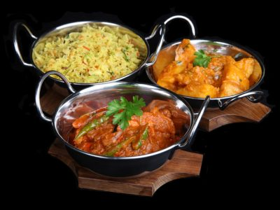 Indian Chicken Jalfrezi with Bombay Aloo and Pilau Rice